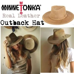 🍃🖤 Real Leather Minnetonka Outback Hat 🖤🍃